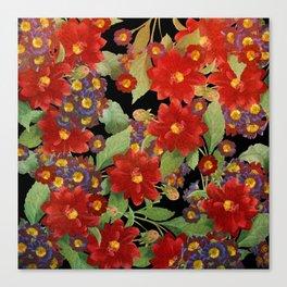 Red Dahlias Canvas Print