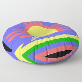 flag of Roswell with flying saucer Floor Pillow