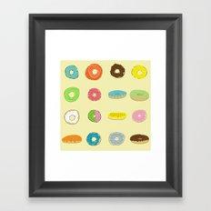 Sixteen Donuts  -Yellow Framed Art Print