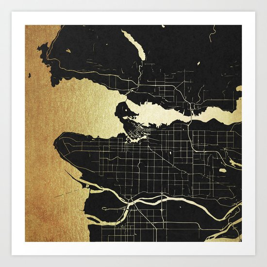 Vancouver Canada Black and Gold Map Art Print