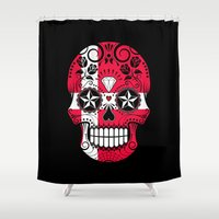 denmark Shower Curtains featuring Sugar Skull with Roses and Flag of Denmark by Jeff Bartels