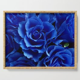 Blue Roses Flowers Plant Romance Serving Tray