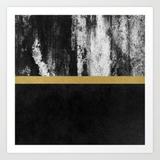 Golden Line / Black Art Print