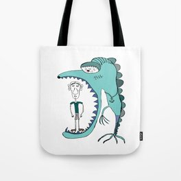 Fish eating guy with a rollers, blue, fish, rollers, scary Tote Bag