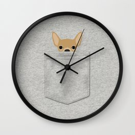 Pocket Chihuahua - Tan Wall Clock