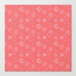 Coral Pink Flora Pattern 2 Canvas Print