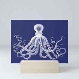 Octopus   Navy Blue and White Mini Art Print