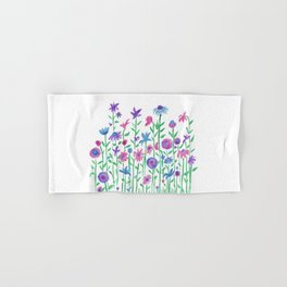 Cheerful spring flowers watercolor Hand & Bath Towel