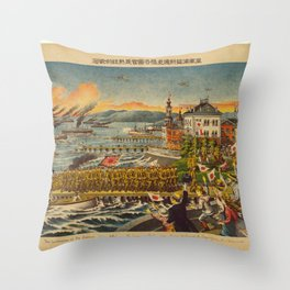 Vintage Print - Illustrations of the Siberian War (1919) - Landing of the Japanese Army Throw Pillow