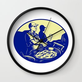 Taco Chef Cook Man Side Oval Retro Wall Clock