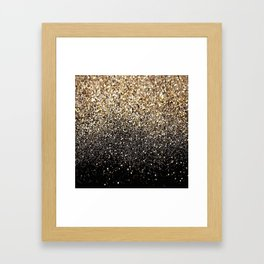 Black & Gold Sparkle Framed Art Print
