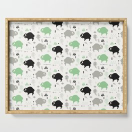 Seamless pattern with cute baby buffaloes and native American symbols, white Serving Tray