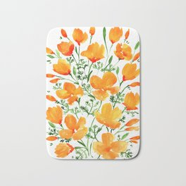 Watercolor California poppies Bath Mat