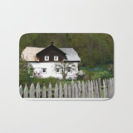 Vine Covered Cottage with Rustic Wooden Picket Fence Bath Mat