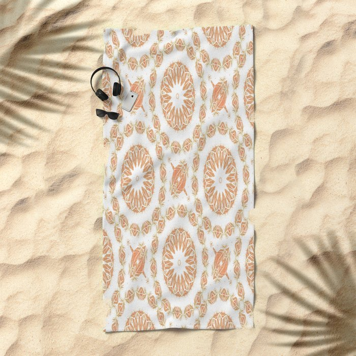 Citrine Mandala Tile Beach Towel
