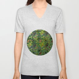 Christmas Pattern with Green Background Unisex V-Neck