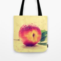 peach Tote Bags featuring Peach  by Tanja Riedel