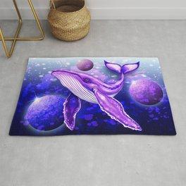 Cyber Whale on Ultra Violet Deep Space Ocean Rug