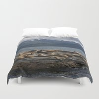 lions Duvet Covers featuring Sea Lions by lularound