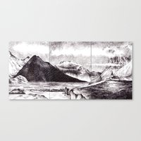 iceland Canvas Prints featuring Iceland by Justine Lecouffe