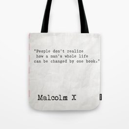 Malcolm X quote about books Tote Bag