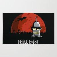 drunk Area & Throw Rugs featuring Drunk Robot by Moysche Designs