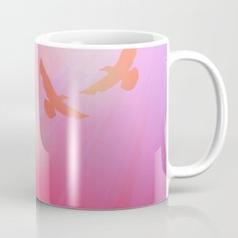 Birds, seagulls silhouette on pink background, sunset, dawn. Coffee Mug