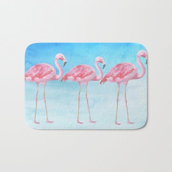 Flamingo bird summer lagune - watercolor illustration Bath Mat
