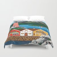 puffin Duvet Covers featuring Puffin Point by Kirbeekatz