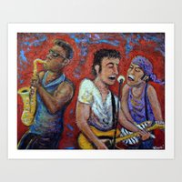 springsteen Art Prints featuring Prove It All Night -  Bruce Springsteen, Clarence Clemons, Steven Van Zandt by Jason Gluskin Art