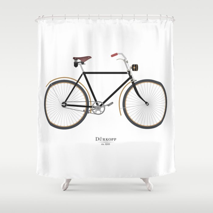 Vintage Durkopp Bike Shower Curtain By Musedesign