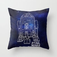 r2d2 Throw Pillows featuring r 2 d 2 by Vickn