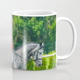 Beautiful girl riding a gray horse Coffee Mug