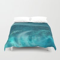 aqua Duvet Covers featuring aqua by haroulita
