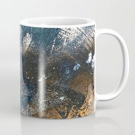 Wander [4]: a vibrant, colorful, abstract in blues, white, and gold Coffee Mug