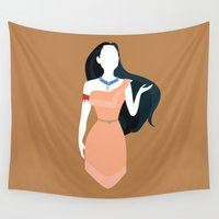 pocahontas Wall Tapestries featuring Pocahontas Disney Princess by Alice Wieckowska