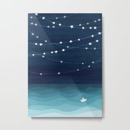 Garlands of stars, watercolor teal ocean Metal Print