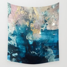 Timeless: A gorgeous, abstract mixed media piece in blue, pink, and gold by Alyssa Hamilton Art Wall Tapestry