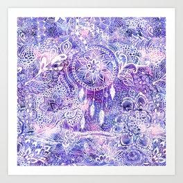 Boho doodles dreamcatcher floral pink purple watercolor Art Print