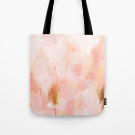 Abstract minimal peach, millennial pink, white and gold painting Tote Bag
