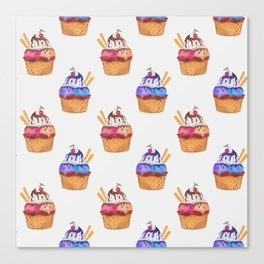 Pattern with hand painted watercolor cupcakes. Canvas Print