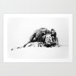 Snowy Haytor in the mist Art Print