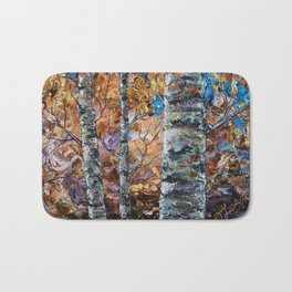Birch Trees with Palette Knife by OLena Art for @society6 Bath Mat