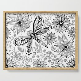 Dragonfly and flowers doodle Serving Tray