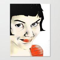 amelie Canvas Prints featuring Amelie by Bubble Trump Ltd