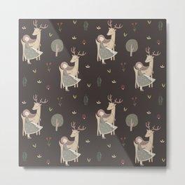 Girl and Deer - brown Metal Print