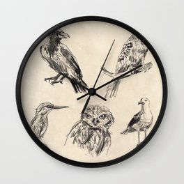 Bird vintage sketches 2 Wall Clock