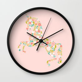 Floral Unicorn in Pink Wall Clock