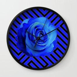 CONTEMPORARY BLUE ROSE  PATTERN ART GARDEN Wall Clock