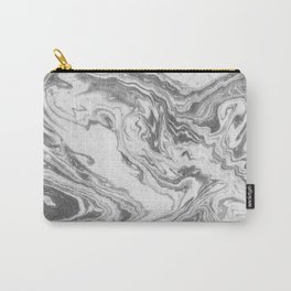 Akio - black and white grey minimal modern abstract marble painting retro minimalism urban bklyn Carry-All Pouch